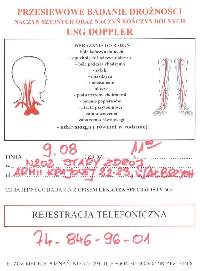 Badanie drożności naczyń (Doppler) oraz USG stawów – cena 60 zł